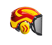 Combiné casque Protos Integral Forest en rouge/jaune